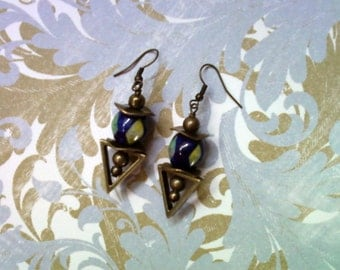 Navy Blue, Yellow and Green Earrings (1892)