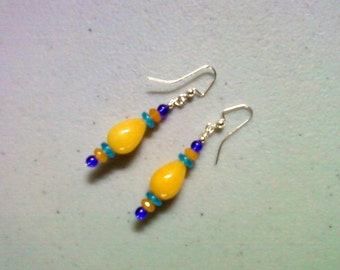 Honey Yellow, Aqua and Cobalt Earrings (0881)
