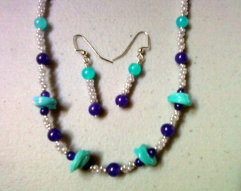Aqua, Purple and Gray Necklace and Earrings (0471)