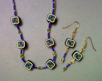 Royal Blue, Teal, Olive and Mustard Necklace and Earrings (0977)