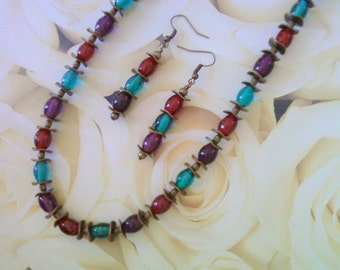 Red, Teal and Purple Necklace and Earrings (1768)