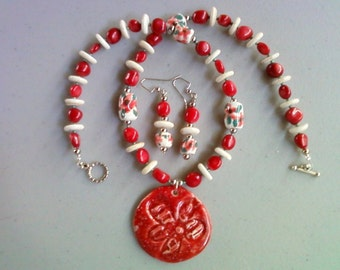 Red and White Necklace with Red Flower Ceramic Pendant and matching Earrings (0049)