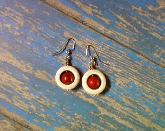 Round Red and White Earrings (2124)