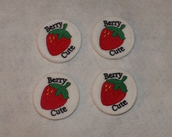 Feltie Machine Embroidered Hand made (4) Felt Berry Cute CUT Embellishments / appliques