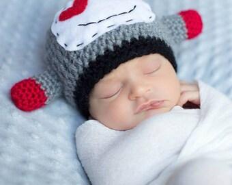 Newborn Robot Hat / Lovebot Hat/ Geeky Hat/ Baby Boy Hat/ Handmade Crochet Hat/ Newborn Baby Hat/ Unique Baby Hat