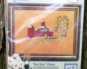 Round Barn Crewel Stitchery Kit - Wisconsin barns - Design by Carol & Don Henning