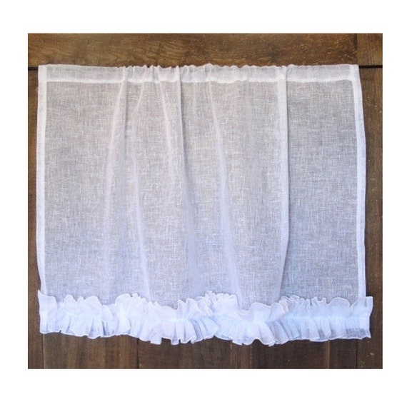 White Kitchen Curtain Sheer Linen Panel French Linen Cafe
