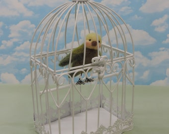 Needle Felted Love Bird And Cage!.............Free Shipping In The U.S.