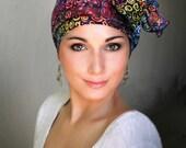 Rainbow Swirl Turban Chemo Hat, Head Wrap Alopecia Scarf Batik Boho, Chemo Turban, Red Blue Purple Hat & Scarf Set