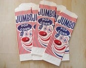 100 Jumbo Clown Popcorn Bags - Party Packing Supplies gift Extra Long Large Circus Carnival Concession Food Movie Night Cookout Big Paper