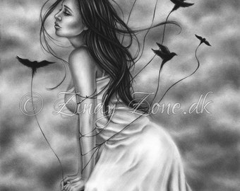 Attachments of the heart Woman Flying Birds Raven Crow Art Print Emo Fantasy Girl Zindy Nielsen