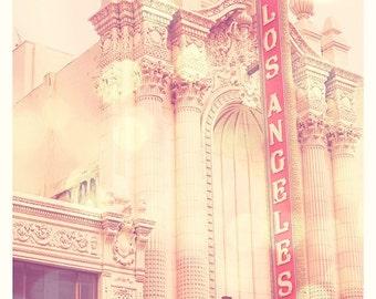 large Los Angeles print, nursery wall art, pink decor, LA Theatre photograph, 30x30 LA poster, downtown, apartment decor
