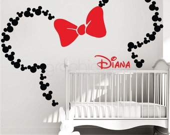 Mickey Mouse Ears With Bow U0026 PERSONALIZED BABY NAME / Minnie Mouse Wall  Decals By GraphicsMesh