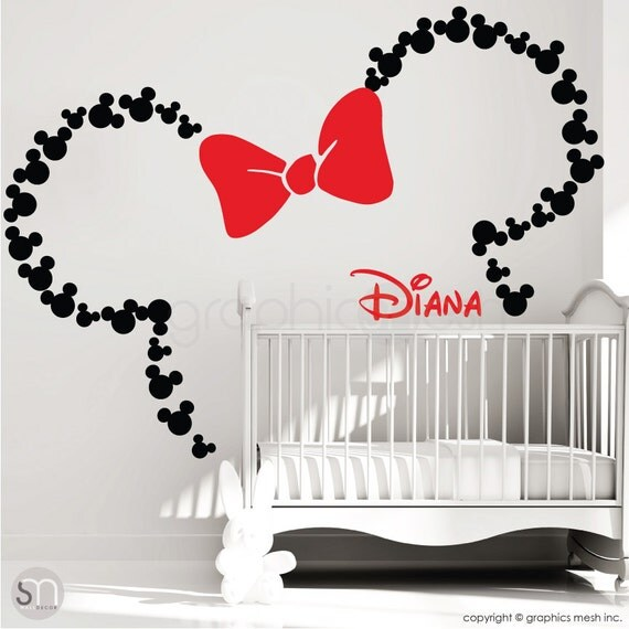 mickey mouse ears with bow personalized baby name minnie. Black Bedroom Furniture Sets. Home Design Ideas