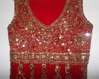 JULIETs RED DReSS Vintage S Boho MiDi Princess Long Dress gold jeweled accents heavily embellished Vintage ooak boho Princess