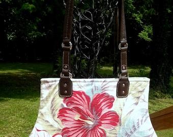 Vintage Barkcloth Bark Cloth Fabric Handbag Tropical Floral Flowers Pink Red Green Turquoise