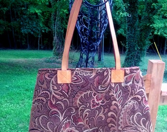 Large Carpet Style Bag Tapestry Fabric Bag Brown Gold Rust Orange Leather Handles