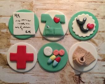 Fondant Nurses and Drs Fondant Cupcake Toppers  Set of 12 (one dozen)