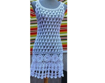 Crochet Beach Dress  / Cotton Cover Up  Made to Order in any size and color