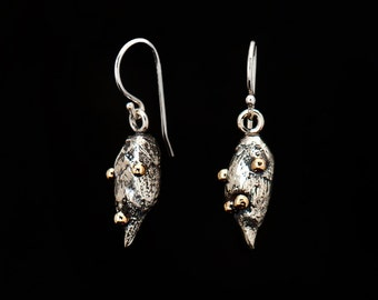 Earring bud sterling silver / gold 10 kt / 925 / bud / granulation / hook / nature