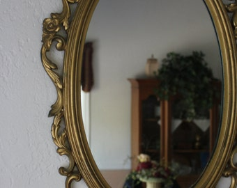 Ornate Syroco Oval Mirror - Gold Mirror - French/Cottage Chic Decor - Free Shipping 25x16