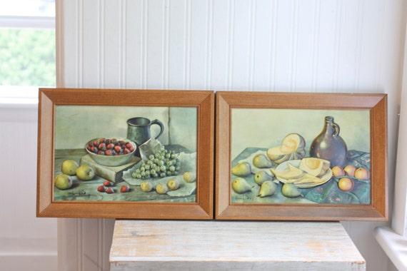 Items similar to fruit still life raised relief art print for Dining room framed art