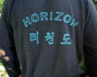 1980's Horizon TAEKWONDO - Korean Martial Arts thrashed ultra worn-in unisex 50/50 raglan hoodie - men's sz M/L
