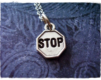 Tiny Stop Sign Necklace - Sterling Silver Stop Sign Charm on a Delicate Sterling Silver Cable Chain or Charm Only