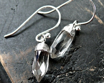 Tiny Crystal Point Quartz Earrings - Crystal Point Earrings - Mineral Earrings - Sterling Silver Earrings