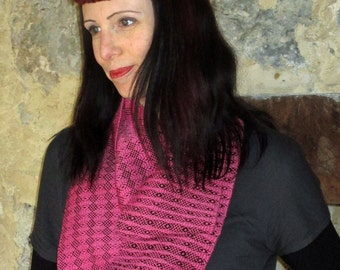 Handwoven Infinity Scarf Cowl - Pink + Black