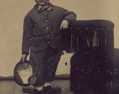 LITTLE LORD FAUNTLEROY Little Boy In Fancy Suit With Bow Tie and Hat Tintype Photo Circa 1880s