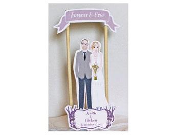 Custom Wedding Cake Topper Lavendar flowers Boho Wedding Cake Topper Couple Illustration Summer Wedding