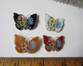 4 assorted  vtg Enamel  BUTTERFLY CLUTCH PINS, West Germany Vintage Pins, as One Lot, jewelry supply, clutch pins, vintage  pins