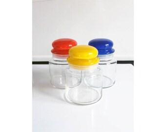 Colorful Glass Vintage Kitchen Storage Jars / Set of 3