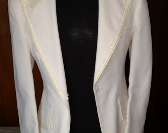 White Tuxedo Jacket After Six  by Rudofker 1970's