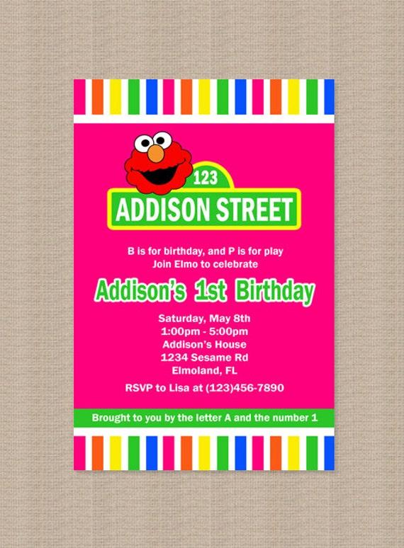 Elmo Birthday Party Invitation, Pink Elmo Invitation, Printable, 1st Birthday, Personalized