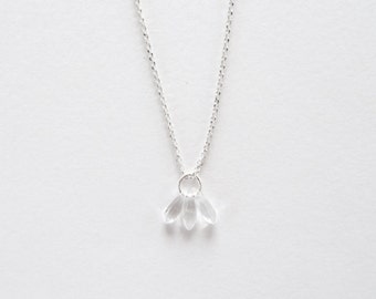 Nile | Sterling Silver and Glass Fan Necklace | Simple Crystal Necklace