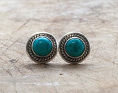 Turquoise Earrings, Small Turquoise Stud Earrings, Sterling Silver Blue Turquoise Post Earrings, December Birthstone, Turquoise Jewelry