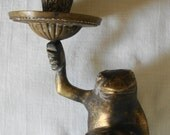 VINTAGE Brass FROGS on Lily Pad Candle Holder Doube Frogs With Single Taper Candle Holder Candelabra Candle Holder 2 Frogs Frog Big Brother