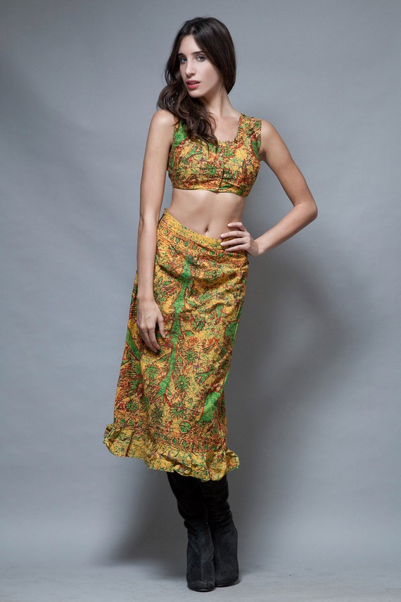 Vintage ethnic African skirt crop top outfit by shoprabbithole