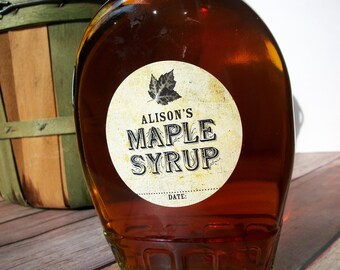 Custom Vintage Maple Syrup bottle labels, personalized round stickers for mason jars, wedding and shower favors, canning jar label