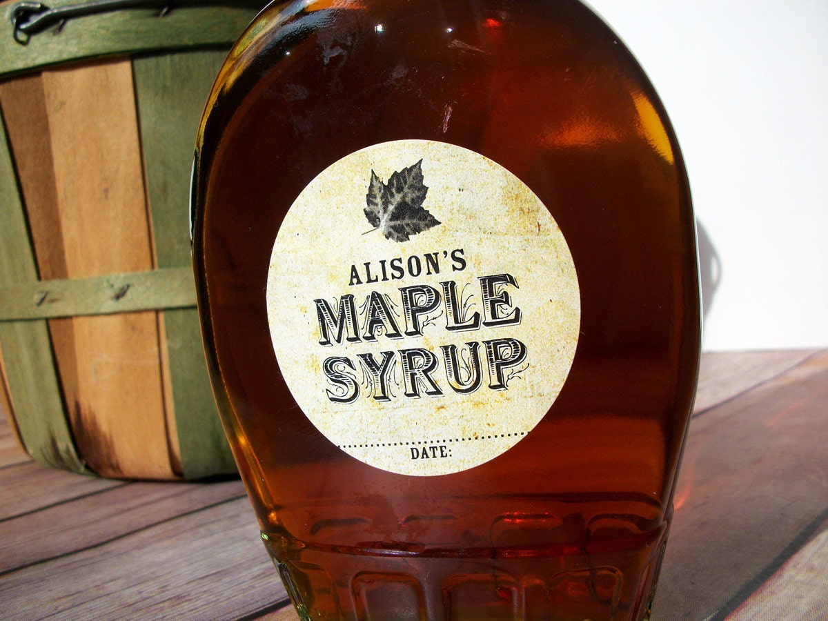 custom vintage maple syrup bottle labels personalized round