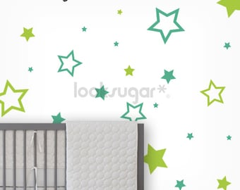 Baby Nursery Wall Decals - Star Stickers , Kids Wall Decal , Childrens Wall Art - LSWD-0062-W