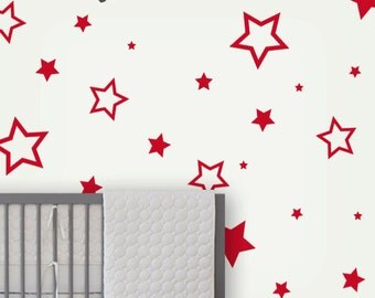 Star Wall Decals , children wall stickers , baby nursery wall decals , star wall pattern decals , removable wall decals - LSWD-0060