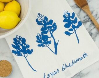 Texas Bluebonnet Wildflower Tea Towel
