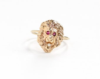 Sale - Antique 14k Yellow Gold Lion Created Ruby & Seed Pearl Ring - Vintage Victorian Figural Animal Pink Stick Pin Conversion Fine Jewelry