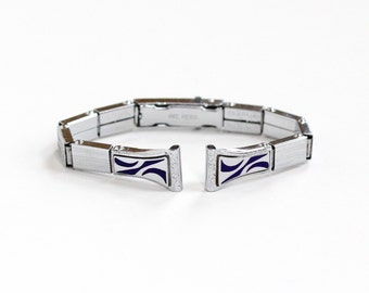 Sale - Vintage 10k White Gold Filled Filigree Watch Band - 1920s Dark Purple Enamel Stretch Panel Jewelry S&C White Betty Lou Pat. 10-9-26