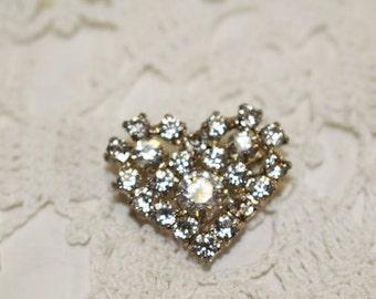 Clear Rhinestone Heart Vintage Brooch, Vintage Pin   -  H