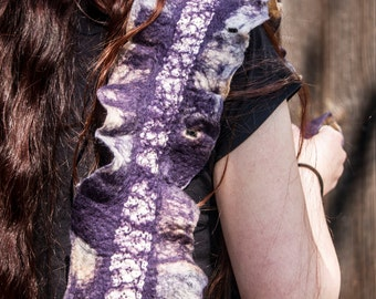 SALE - purple felted shawl with cotton lace