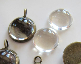 Pendant BEZELS with GLASS Magnifying Domes Set, 12mm Blank Tray, Round Cabochon Settings, Bronze Tone, 5 Sets, 10 Pieces Total, G259